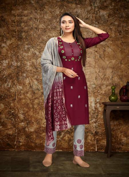 Kinti Miss India Festive Wear Rayon Top Pent And Dupatta Ready Made Collection