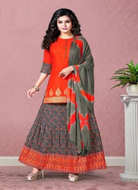Kinti Panghat Fancy Ethnic Wear Rayon Printed Kurti With Skirt Collection
