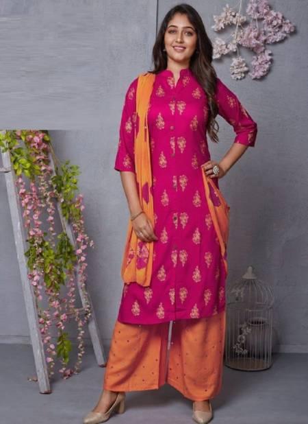 Kushal Meri Gold 4 Kurti With Plazzo And Dupatta Rayon Readymade Dress Collection