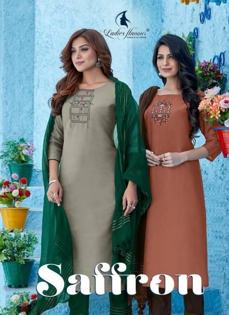 Ladies Flavour Saffron Ethnic Wear Viscose Ready Made Salwar Suit Collection
