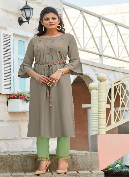 Ladyview Beltom Rayon Embroidery Work Kurtis With Attached Belt and Pant Collection