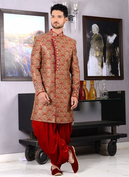 Latest Designer Wedding Skerwani Collection of Mens With Embroidery Work And Dhoti Pattern