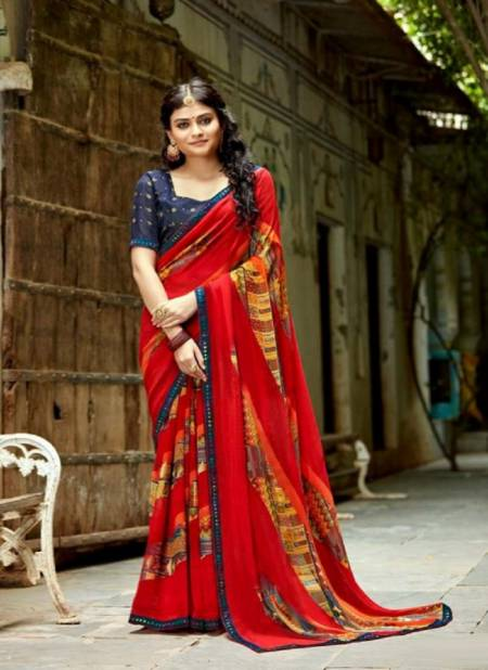 Laxminam Parampara Casual Daily Wear Georgette Printed Saree Collection