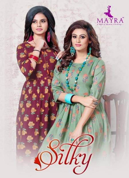 Mayra Silky Exclusive Designer Party Wear Rayon Kurti Collection