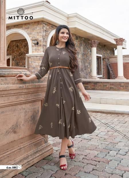 Mittoo Belt 5 Ethnic Wear Long Designer Rayon Printed Kurti Collection