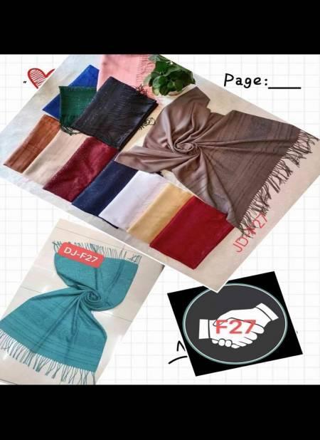Multi Hijab F27 Latest Fancy Casual Wear Hosiery Cotton Arabian Pallu Two Side Hijab Collection