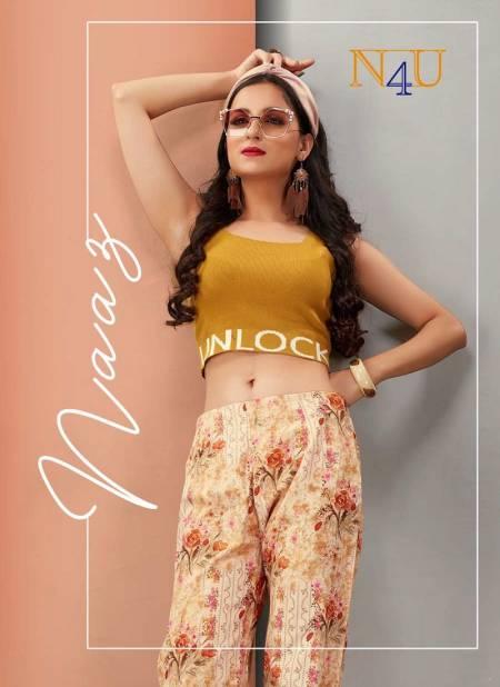N4u Naaz Pant Cotton Flex Printed Western Wear Bottom Collection