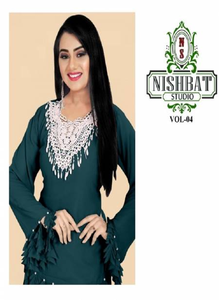 Nishbat Studio 4 Latest Designer Stylish Bordered Kurtis With Bottom Collection