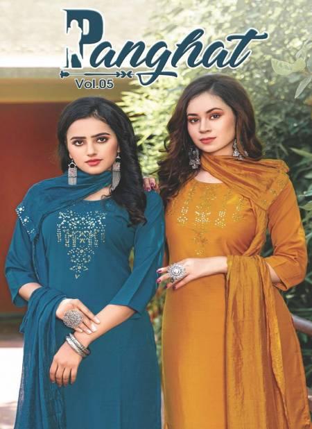 PANGHAT VOL 05 Latest Fancy Designer Stylish Festive Wear Chinnon Silk Readymade Salwar Suit Collection
