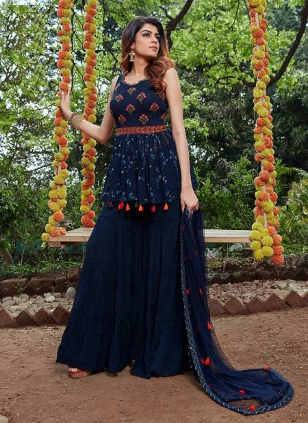 Parmpara 6 Exclusive Fancy Stylish Festive Wear Georgette Embroidery Work Sharara Suit Collection