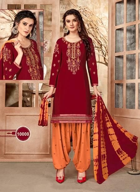 Patiyala 10 Latest Designer Festive Wear Cotton With Embroidery Work Top With Bottom And fancy Print Dupatta Dress Material Collection