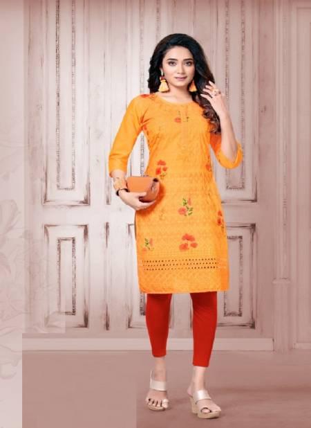 Pearl 5 Ethnic Regular Wear Designer chiken Printed Kurtis Collection
