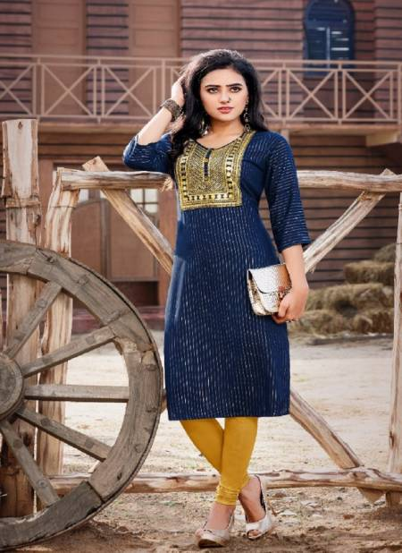 Pixel 5 Ethnic Wear Rayon Embroidery Heavy Designer Kurtis Collection