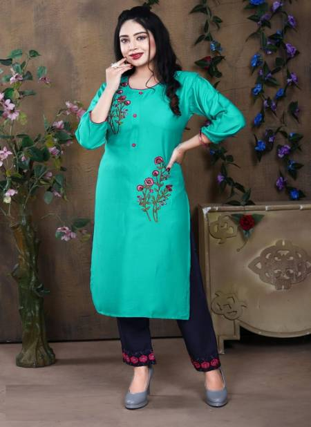 Pluto 3 Fancy Ethnic Wear Rayon Designer Kurtis With Bottom Collection