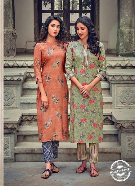 Poonam Aarna Fancy Ethnic Wear Rayon Printed Kurtis With Bottom Collection