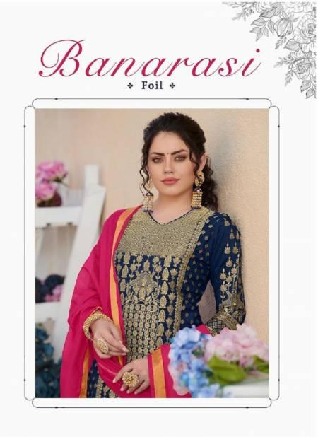Poonam Designer Banarasi Foil Latest Fancy Heavy Designer Festive Wear Pure Rayon With Banarasi Foil Readymade Salwar Suit Collection