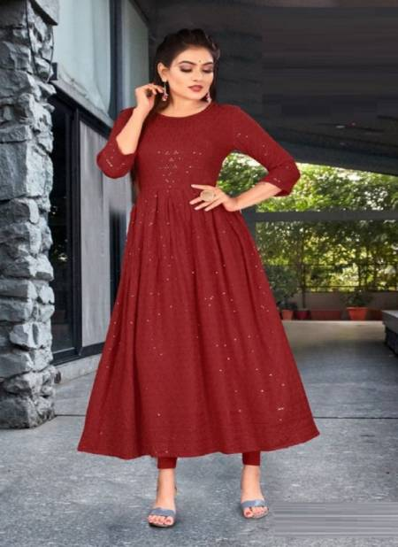 Poonam Gown Cadbury Rayon Lucknowi Ethnic Wear Fancy Anarklai Kurti Collection