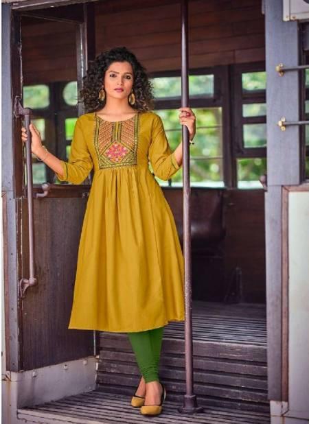 Poonam Sahiya Pure Malai Ethnic Wear Rayon Embroidery Latest Kurtis Collection
