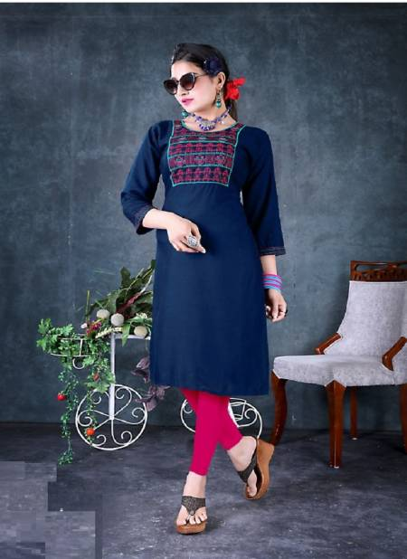 Popins Ethnic Wear Rayon Embroidery Designer Latest Kurtis Collection