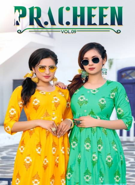 Pracheen 9 Fancy Wear Short Rayon Printed Anarkali Kurtis Collection