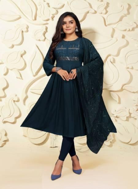 Prashashti 5 Ethnic Wear Sequence Anarkali Long Designer Kurti With Dupatta Collection