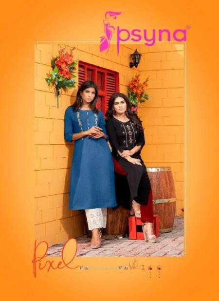 PSYNA PIXEL VOL-1 Latest Design Fancy Casual Wear Embroidery Kurtis with Handwork Rayon Collection