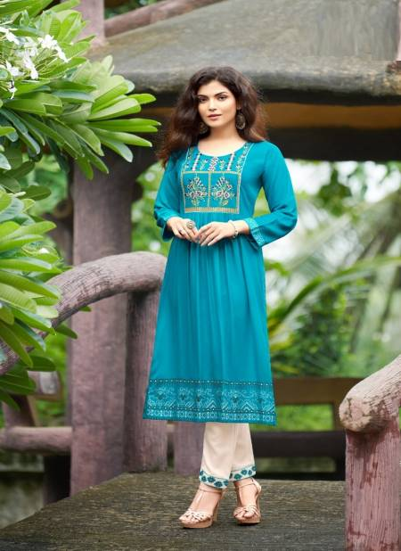 Rangjyot Maria 1 Ethnic Wear Rayon Designer Latest Kurti With Bottom Collection