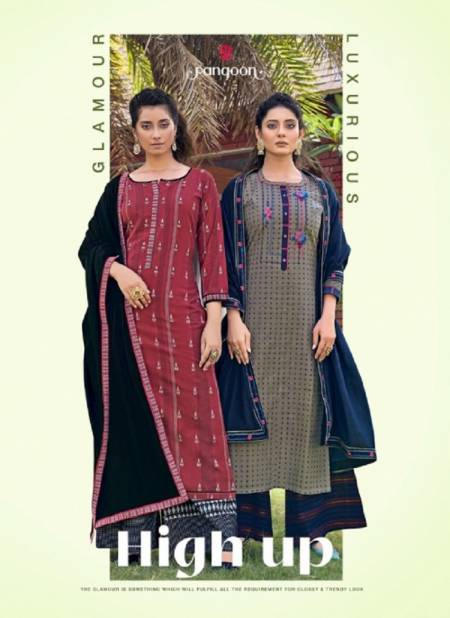 Rangoon High Up Wear Embroidery Fancy Work Festive Wear Pure Cotton Ready Made Dress Collection