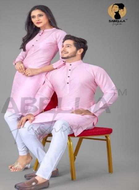 Sabella Couple Kurta 2 Cotton Silk Jacquard Couple Kurta Collection
