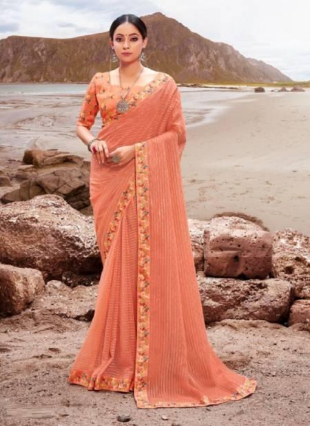 Saroj Sparkle Look Festive Wear Georgette Border Lace Fancy Saree Collection