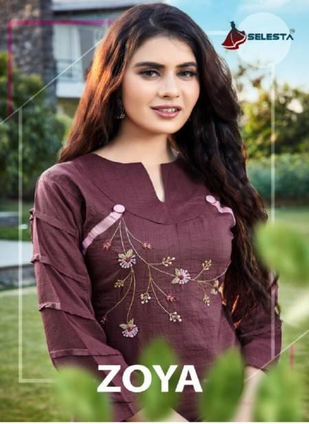 Selesta Zoya Handwork Pure Cotton Designer Kurti With Bottom Collection