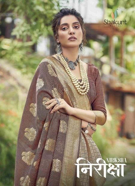 SHAKUNT NIRIKSHA Festive Wear Fancy Designer Cotton weaving Heavy Saree Collection