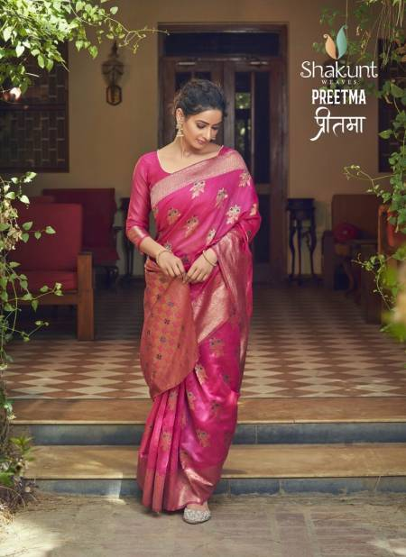 SHAKUNT PREETMA Festive Wear Cotton Weaving fancy Designer Saree Collection