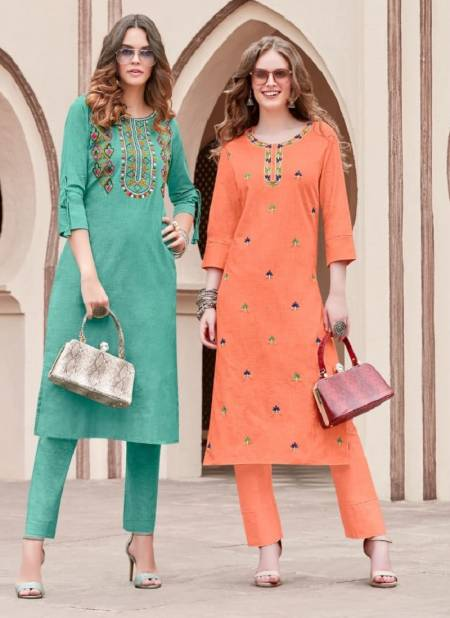 Syasii Pure 2 Fancy Ethnic Wear Cotton Embroidered Kurtis With Bottom Collection
