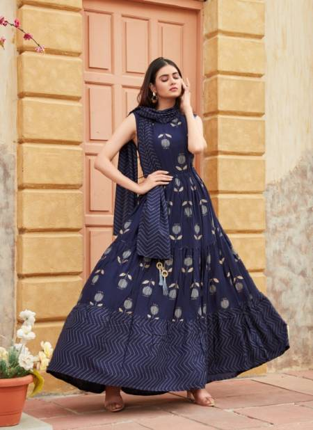 Tips Tops Mimi Fancy Stylish Party Wear Printed Designer Rayon Long Gown With Dupatta Collection