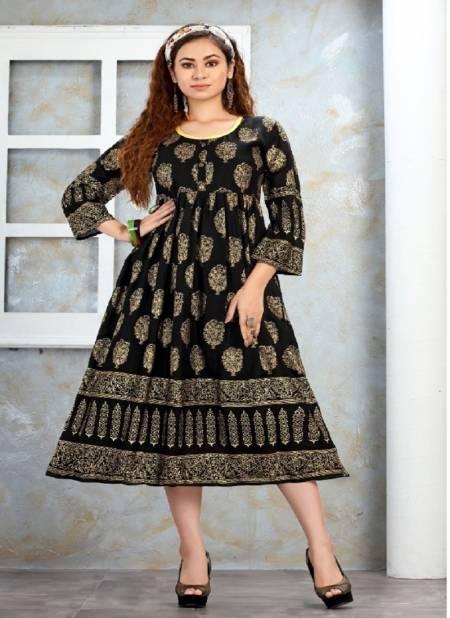 Trendy Nakshtra Ethnic Wear Rayon Printed Designer Anarkali Kurtis Collection