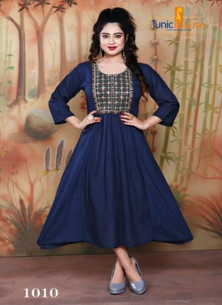 Tunic House Nek Nx Designer Ethnic Wear Embroidery Rayon Kurtis Collection