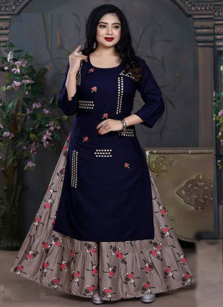 Tunic House Nexa 4 Embroidery Fancy Ethnic Wear Rayon With Embroidery Kurtis With Skirt Collection