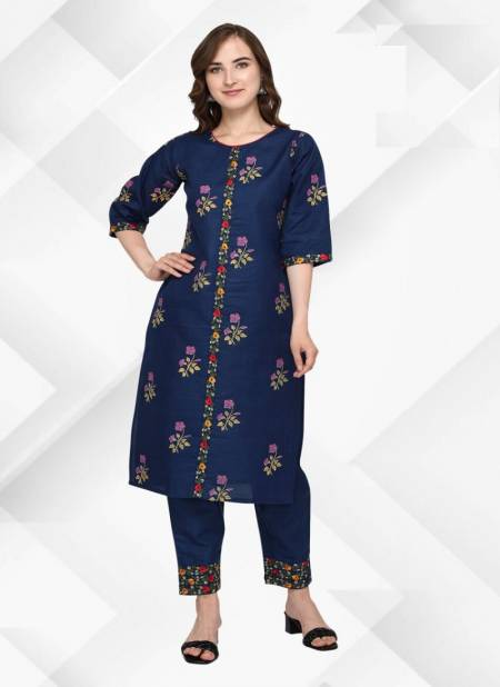 Vv Rasam Cotton Embroidery Work Fancy Ethnic Wear Kurti With Bottom Collection