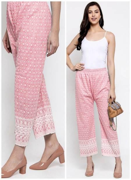 Women's Lucknow Chicken Embroidery Palazzo Casual Wear Designer Collection