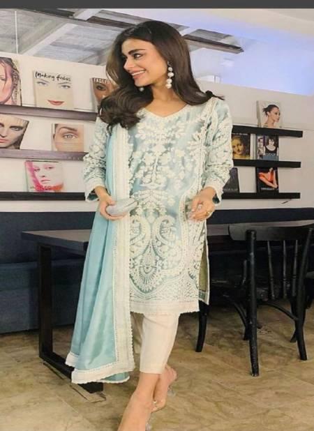 Ziaaz 7773 Sea Blue Cotton Casual Wear Designer Ready Made Collection